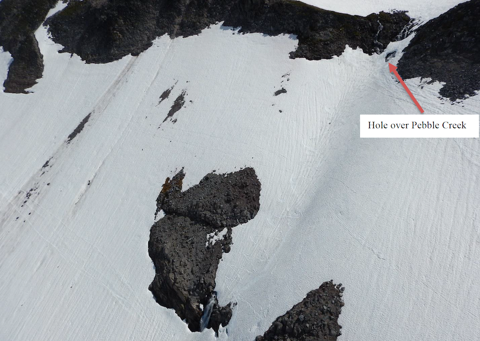 "A steep snow covered slope with a hole in the snow marked by an arrow and the text ""Hole over Pebble Creek"""
