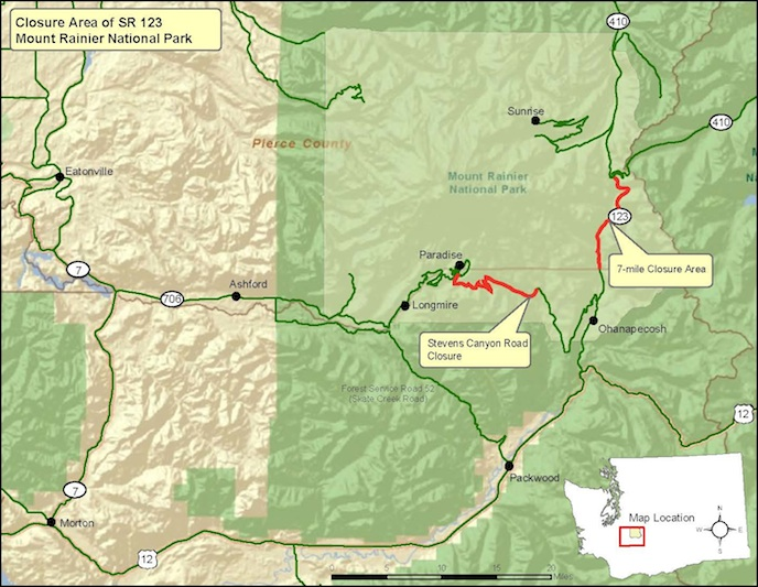 A map of Mount Rainier National Park indicating the section of SR123 closed for culver installation, as welll as the section of Stevens Canyon Road that is closed for road work.