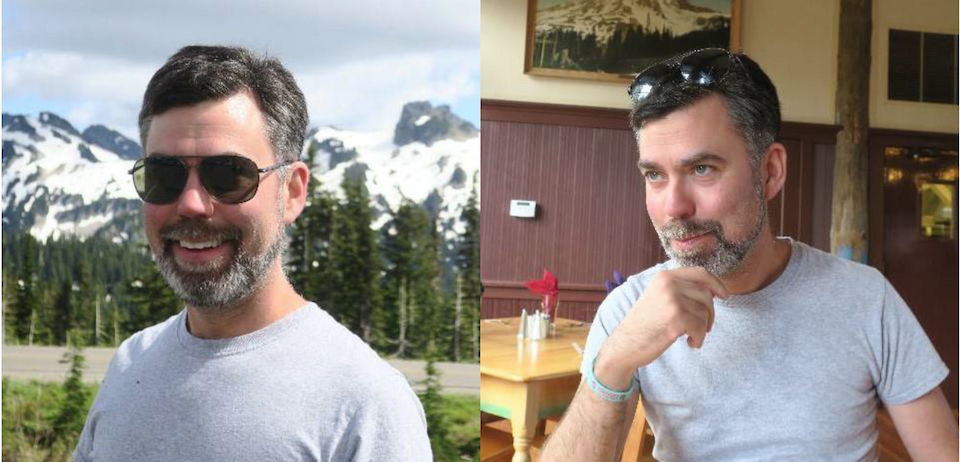Two images of a man with a greying beard and dark hair wearing a grey t-shirt.