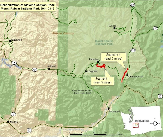 A map of Mount Rainier National Park indicating the sections of Stevens Canyon Road under rehabilitation.