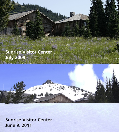 A view of the Sunrise Visitor Center from the southwest covered in snow, versus a similar photo of the visitor center without snow.