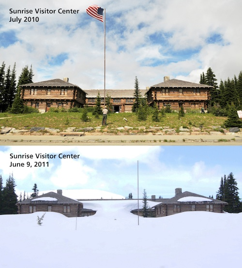 Sunrise Visitor Center covered in snow compared to without snow.