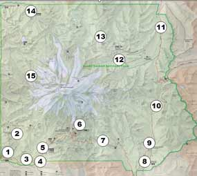 Map of Mount Rainier National Park with numbers indicating areas of significant damage caused by the November 2006 flood. The numbers refer to descriptions at right and below.