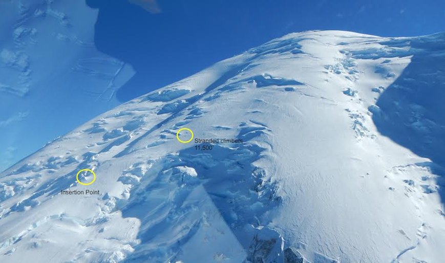 Glacier-capped summit of Mount Rainier with two small circles marking where stranded climbers were located and insertion point of rescuers.
