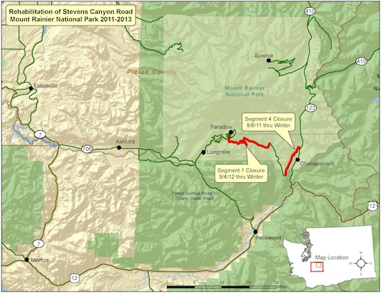 A map of the areas involved in the rehabilitation of Stevens Canyon Road, Mount Rainier National Park, 2011-2013.