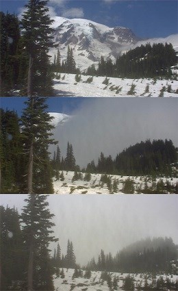 Multiple views of Mount Rainier with different weather taken from the Mountain webcam.