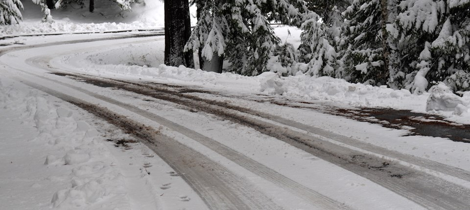 A curve in a snow-covered road.
