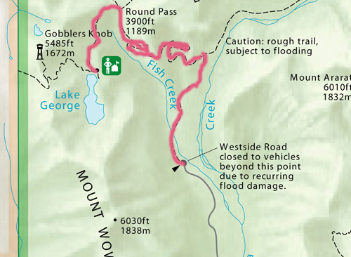 Trail route from Westside Road, near Nisqually entrance, to Lake George/ SW.