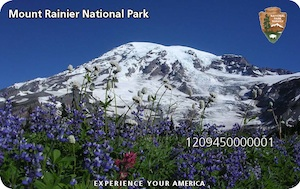 An image of the Mount Rainier Annual Pass, featuring a blooming wildflower meadow with Mount Rainier in the background and the NPS Arrow in the upper right corner.