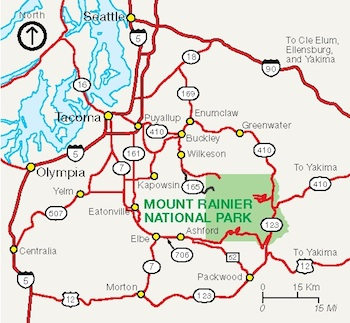 A map of the roads providing access to Mount Rainier.