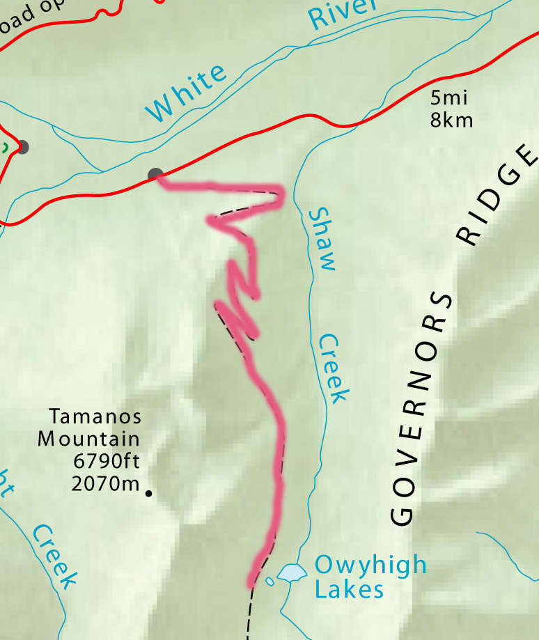 Trail route from White River to Owyhigh Lakes/ NE.