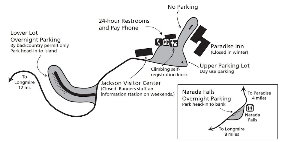Simplified map of the Paradise overnight parking area in the lower lot and the locations of the restrooms, payphone, and climbing self-registration kiosk in the upper parking lot. An inset map shows the Narada parking area.