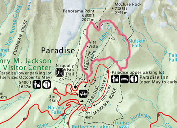 Trail route of the Skyline Trail beginning at Paradise.