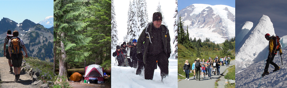 Five images showing left to right: hikers, a campsite, a ranger leading snowshoers, a ranger leading a school group, and a climber on a steep snow slope.