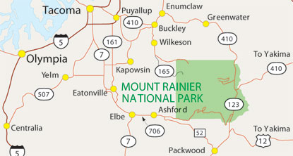 Map of region and roads to Mount Rainier.
