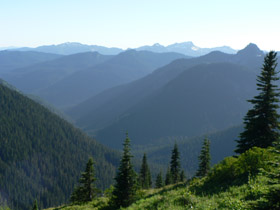 The Ohanapecosh River Valley seen from the Naches Peak Loop Trail near Tipsoo Lake.