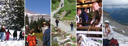 Five pictures show different visitor activities: winter fun, ranger programs, climbing, and hiking.