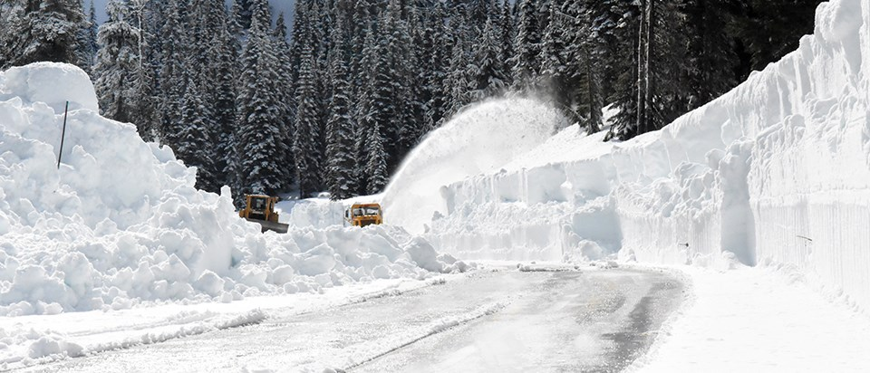 Two plows remove snow on partially snow covered road.