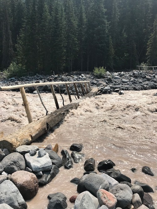 A turbulent muddy river washes over the top of a log footbridge.
