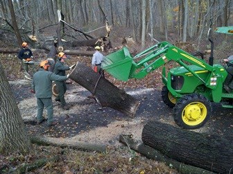 Park Staff clearing the Tour Road of downed trees after Hurricane Sandy