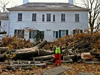 Park Staff cutting up the large trees that fell behind the Ford Mansion