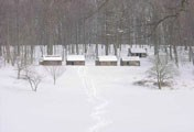 View in Jockey Hollow at the soldier huts, after a heavy snow cover.
