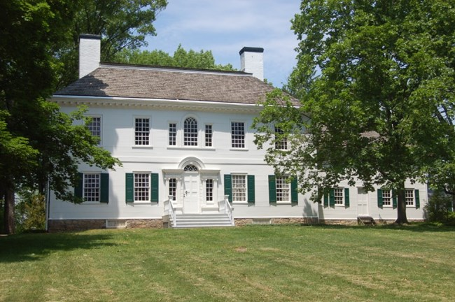 Photograph of the Ford Mansion. The large white house where General Washington spent the winter of 1779/1780