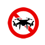Unmanned aerial vehicles prohibited symbol.