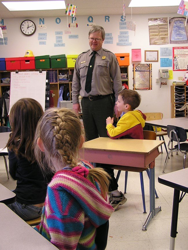 A Mount Rushmore park ranger visiting a local classroom.