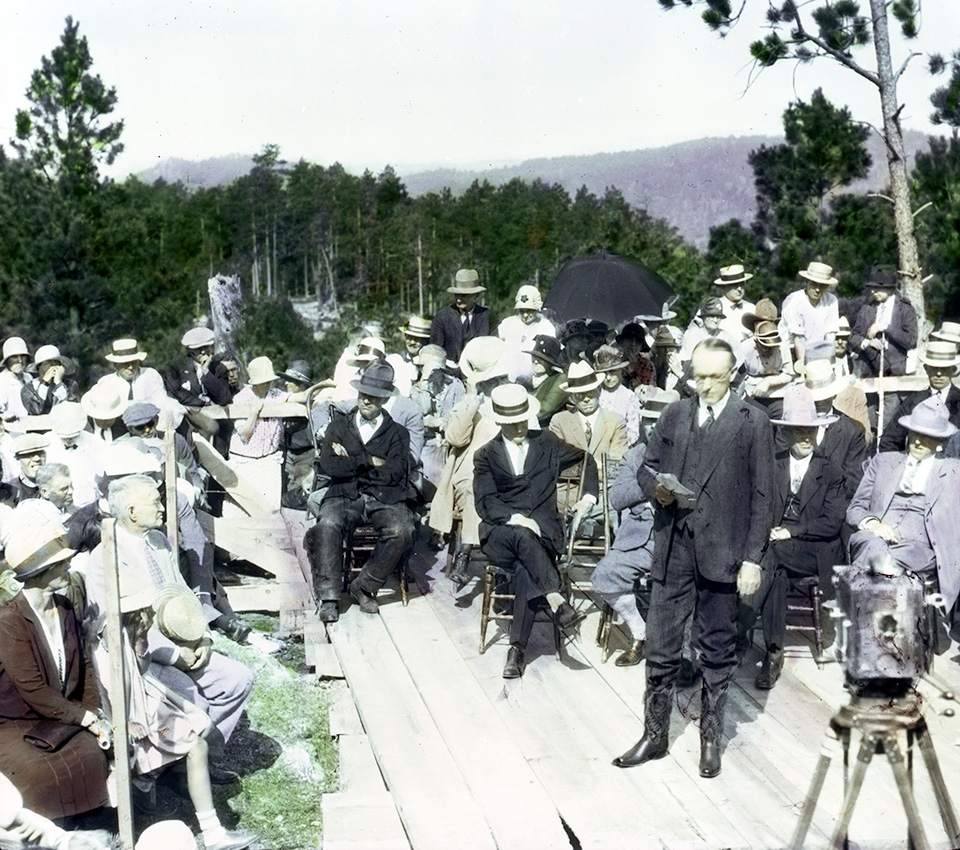 President Calvin Coolidge delivers a speech on August 10, 1927, at the Mount Rushmore dedication ceremony.