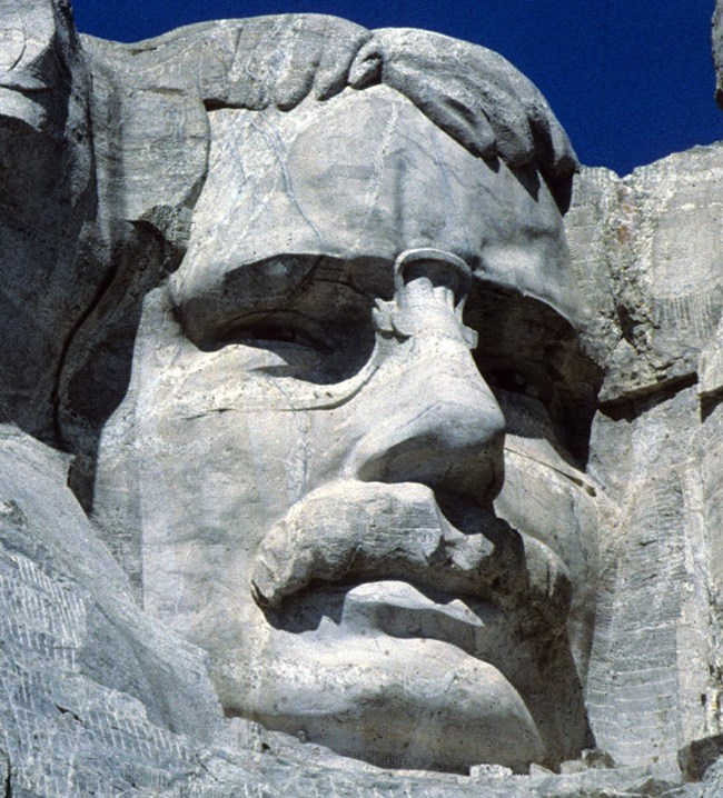 Photograph of Theodore Roosevelt on Mount Rushmore.
