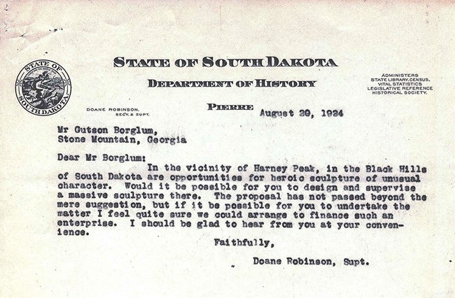 Image of the letter sent by Doane Robinson to Gutzon Borglum proposing a mountain carving in South Dakota.