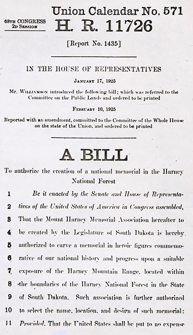 Image of H. R. 11726, the bill authorizing the creation of a national memorial at Mount Rushmore.