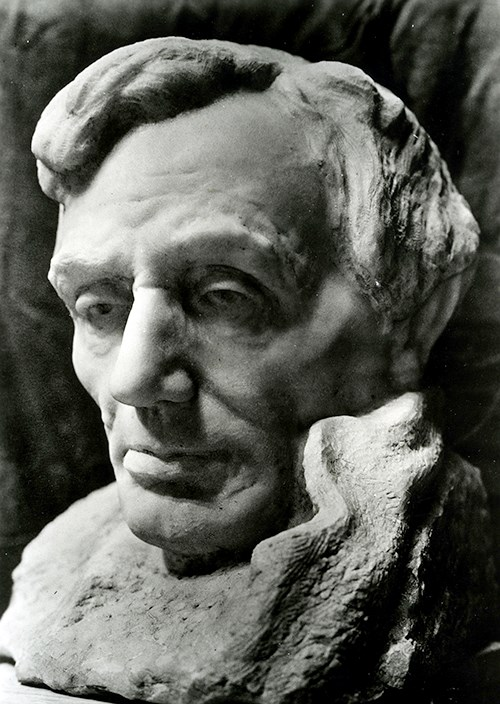 Bust of Abraham Lincoln, 1908, carved from marble.