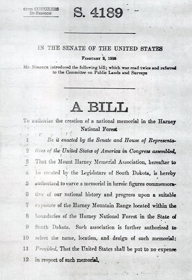 Image of the first page of the United States Senate bill authorizing the construction of a national memorial in the Black Hills.