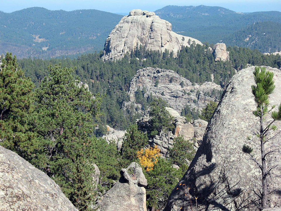 Granite outcroppings surrounded by ponderosa pine forest.