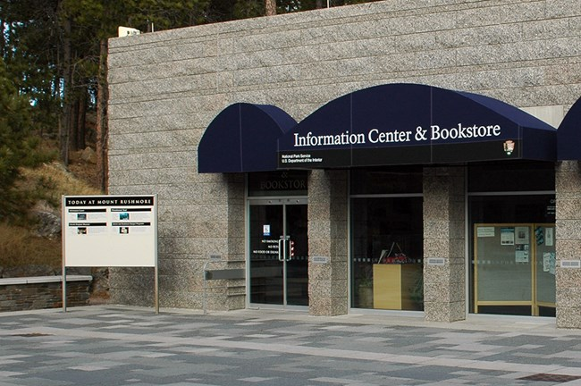 Exterior of the Information Center and Mount Rushmore Bookstore.
