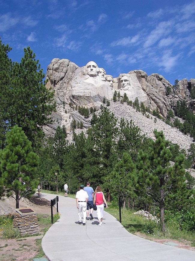 Visitors starting out on the Presidential Trail.