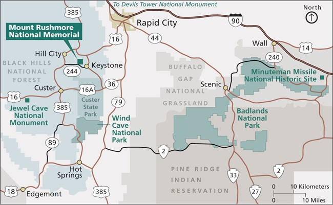 Map of national park sites in and around the Black Hills.