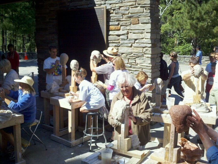 A sculpture workshop held on the Borglum View Terrace during the summer months.
