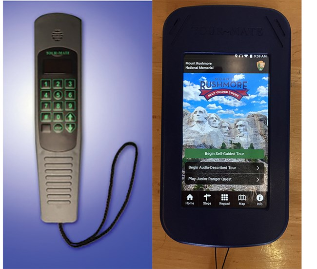Photo of audio tour wand (left) and multimedia tour device (right).