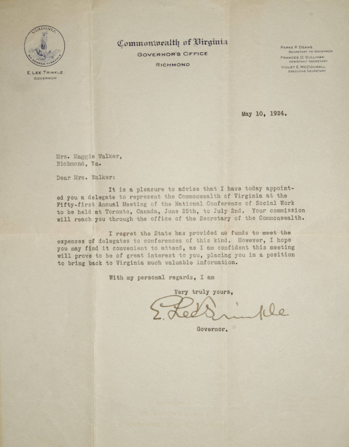 maggie l walker national historic site appointment letter