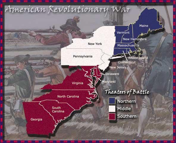 Map of Revolutionary War Battles Map of Revolutionary War