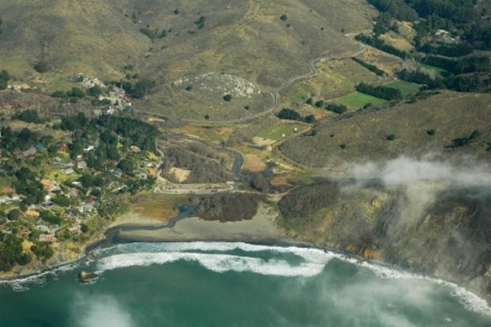 Aerial Photo of Muir Beach taken by John Northmore Roberts, Jan. 31, 2012.