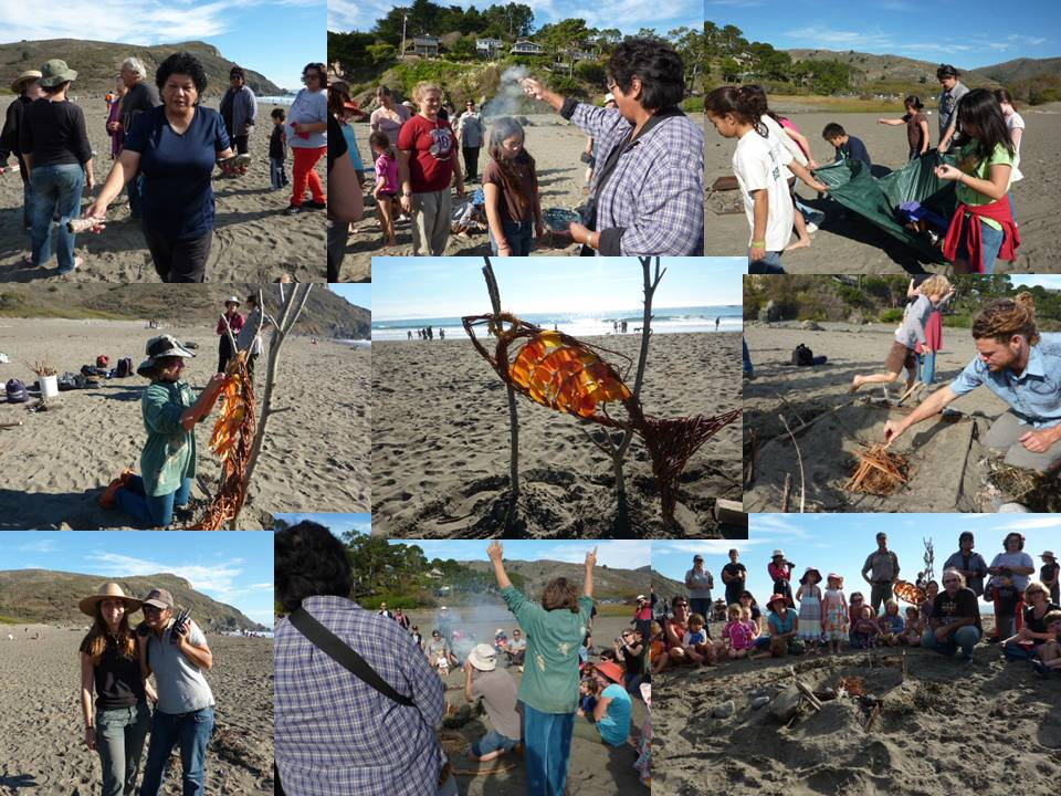 A collage of color photographs of people gathered on the beach to Welcome Back Salmon in an annual ceremony of blessing by the Coast Miwoks.
