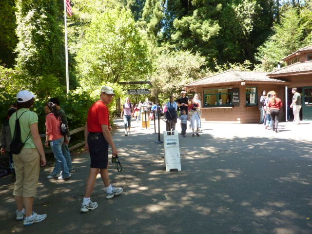 Visitors crowding the park entrance.