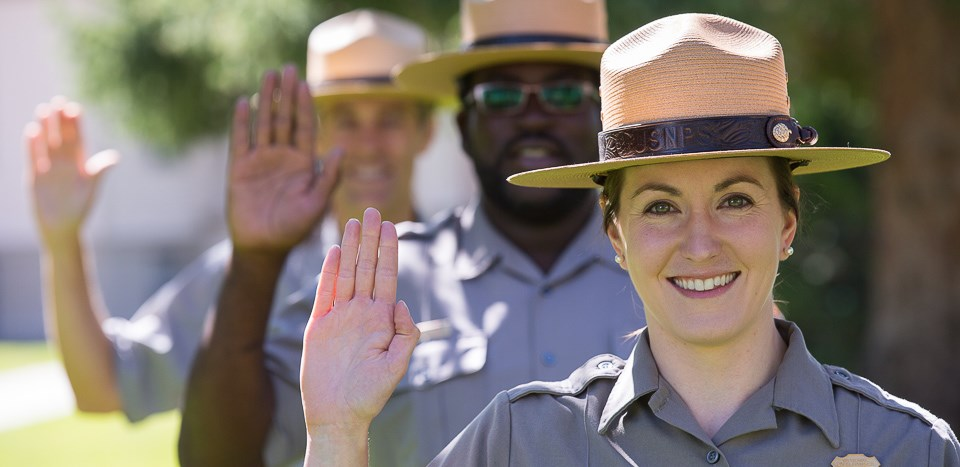 Park Rangers pledging to protect the park