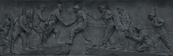 Soviet and U.S. troops meet in this bas relief panel at the World War II Memorial
