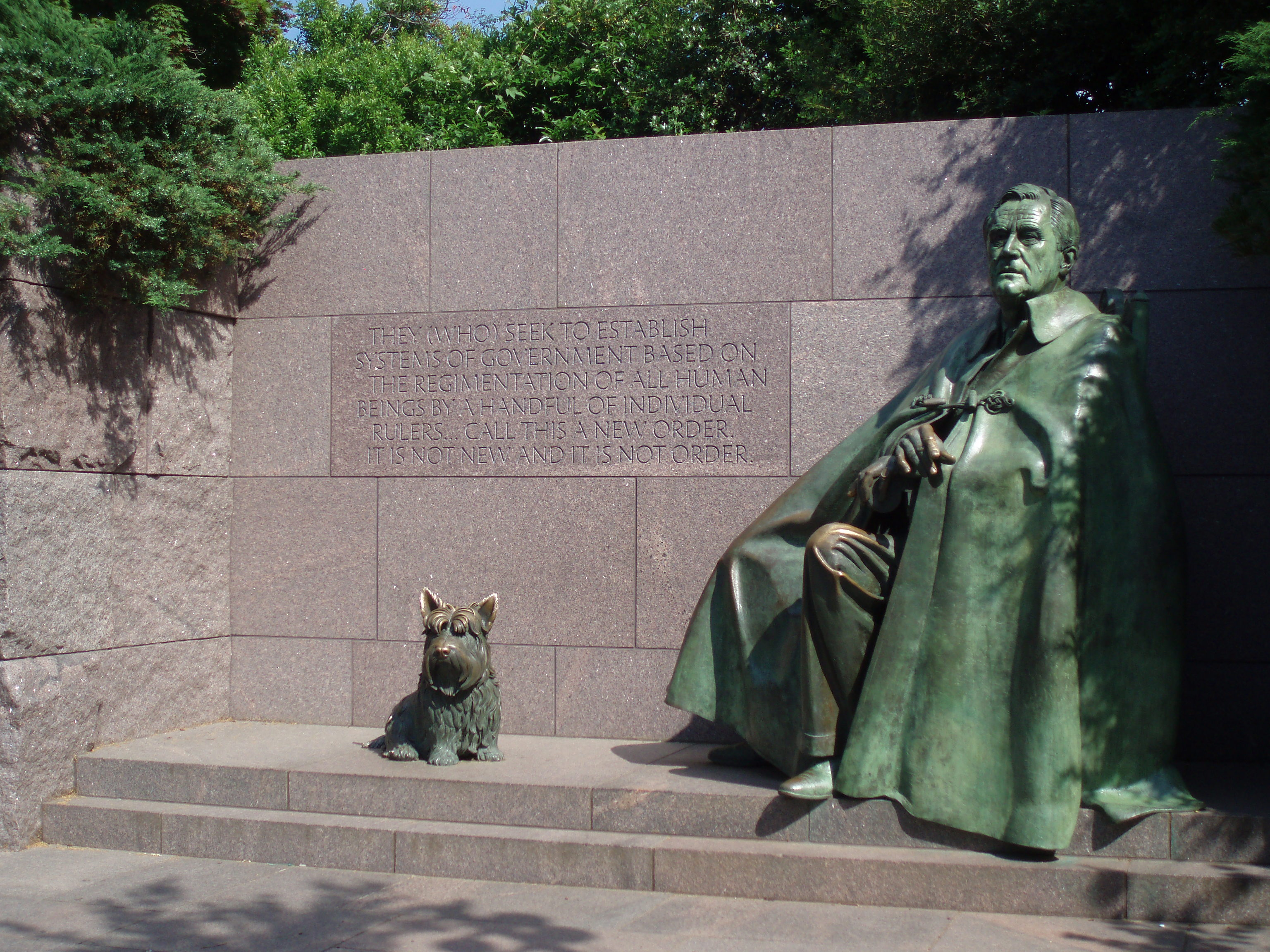 Franklin Delano Roosevelt Memorial with Fala
