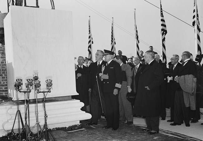 Franklin Roosevelt laying the cornerstone at the Jefferson Memorial